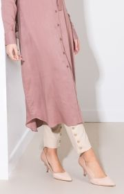 Gold Button Trousers - Nude