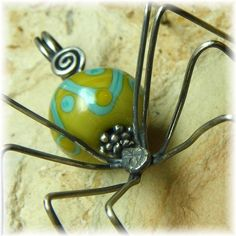 Sterling Silver and Artisan Lampwork SPIDER by HillCountrySilver