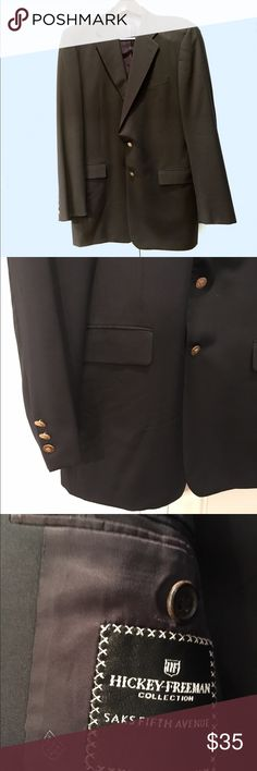 🎩 Classic HICKY FREEMAN BLAZER JACKET SAKS 5th 🎩 Sooo Classic!  MUST HAVE! Hickey Freeman BLAZER JACKET with Gold Buttons and fine lining and pockets. From Saks Fifth Ave. Perfect for Career, Interviews, Events. Size is 42R tho not on label - husband's size). Like new condition. Bundle Discount offered. Hickey Freeman Suits & Blazers
