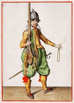 16th-17th century musketeer illustrations from De Gheyn musketeer manual