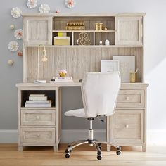 Beadboard Smart Desk + Hutch—make standing height with adjustable chair/stool! Teenage Girl Bedroom Designs, Teenage Girl Bedrooms, Girls Bedroom, Childs Bedroom, Kid Bedrooms, Girl Rooms, Wooden Drawer Pulls, Teen Desk, Kid Desk