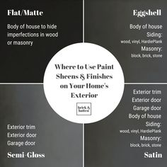 Have you ever wondered what paint sheen to select when working on a home exterior renovation? You spent all that time deciding on a color then draw a blank when you're stranding at the counter, chip in hand, and the paint mixer asks what finish you'd like. You're not alone. That's why we created this handy exterior paint sheen guide. Save it now so that you'll have it on hand for your next trip to the hardware store! #exteriordesign #paint #exteriorpaint #paintsheen #paintfinish Best Exterior Paint, Exterior Paint Colors For House, Exterior Trim, Exterior Doors, Exterior Design, Paint Sheen, Wood Siding, Batten, Painting Tips