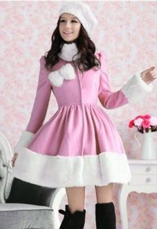 Gorgeous Lady Woolen Coat/Dress(Pink)... makes me wanna go ice skating!