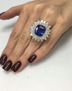 "321 Likes, 9 Comments - Diana M. Jewels (@dianamjewels) on Instagram: ""Royal collections💙💙💙15.67 cts cushion cut sapphire with 8.00 cts diamonds on the…"""