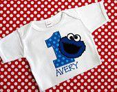 PERSONALIZED SHIRT - BIRTHDAY Shirt - Cookie Monster - Sesame Street - Named - Number Shirt - Shirt - Tshirt - Infant - Toddler - Clothing