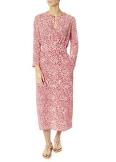 Primrose Park London's 'Tiffany' Leopard Print Red Maxi Dress is back this season in a lovely fiery red leopard print! Crafted from premium silk,. Red Leopard, Red Maxi, Fiery Red, White Shirts, Blue Blouse, Wrap Dress, London, Silk, Tees