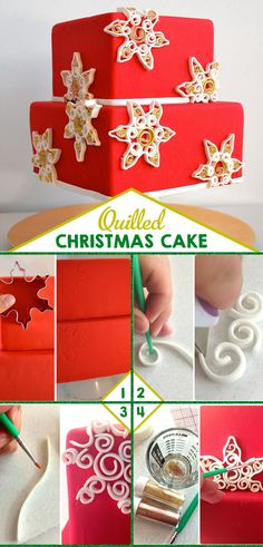 Quilled Fondant and Gum Paste Christmas Cake