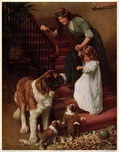 ANTIQUE ARTHUR JOHN ELSLEY 1912 VICTORIAN ART PRINT SAINT BERNARD GOODNIGHT ORIG #Victorian