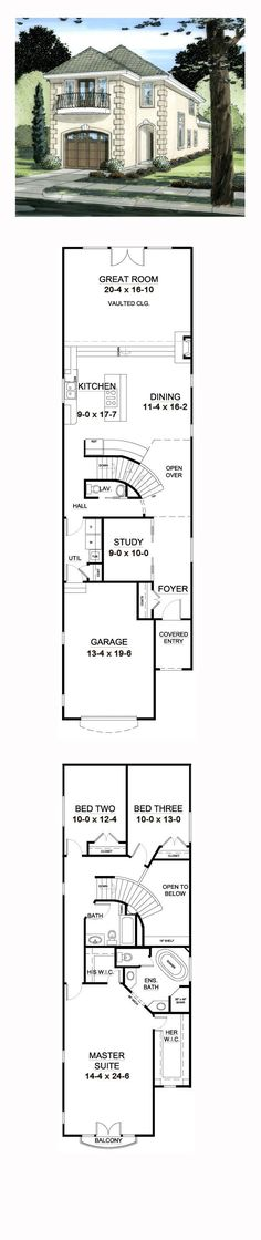 Narrow Lot House Plan 9997 | Total Living Area: 2321 sq. ft., 3 bedrooms and 2.5 bathrooms. #narrowlot: