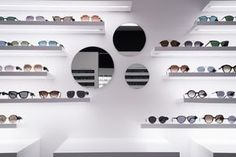 Shoe Store Design, Retail Store Design, Fashion Store Display, Eyeglass Stores, Optical Shop, Store Interiors, Store Fronts, Floating Shelves, Bedroom Decor