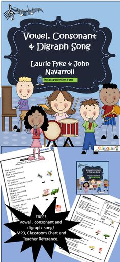 FREE! This zipped file contains: 1 reproducible Classroom Chart, 1 mp3, Teacher's Notes and a BONUS chart!  Download it NOW and you and your students will be tapping your toes and singing along to the garage-band beat of the music with John Navarroli! Before you know it, the children will be singing them as they line up, or during play... learning effortlessly! Have fun! Available in PRINT Letter and SASSOON Infant Font.