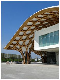 受到中國編織竹帽的啟發,建築頂部是巨大的鋼管和膠合板製成的六角形傘狀結構