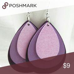 Purple Wooden Earrings New Chic! Light weight wood. Size 8 cm x 4.5 cm Jewelry Earrings