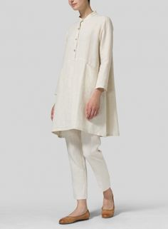 MISSY Clothing - Linen Long Sleeve A-Line Tunic