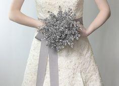 Wedding Flowers - Bridal Bouquet of Beautiful Silver Mirrored Beads - Wedding Bouquet - Fabulous Brooch Bouquet Alternative