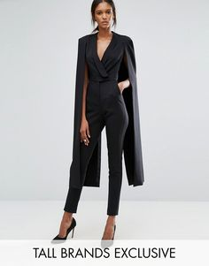 fe16c0e423b Shop Lavish Alice Tall Wrap Front Jumpsuit With Cape Back Detail at ASOS.