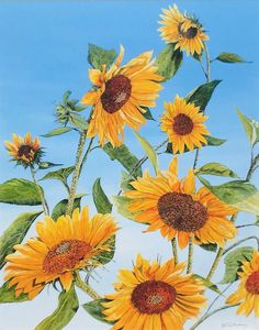 This bright sunflower painting will look beautiful on any wall. If you're looking for floral art, this may be the perfect piece for you. Abstract Landscape, Landscape Paintings, Art Paintings, Art Hoe Aesthetic, Plant Painting, Floral Wall Art, Wall Art For Sale, Country Art, Beautiful Paintings