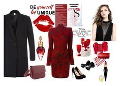 """""""In Black & Red!"""" by perfex ❤ liked on Polyvore featuring Deby Debo, Léa Peckre, Balmain, GUESS, MAC Cosmetics, Christian Louboutin and Godinger"""