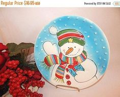 Snowman Gift Plate Blue and White Winter Decoration Christmas