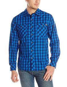 Dickies Men's Long Sleeve Buffalo Plaid, Strong Blue, X-Large Dickies http://amzn.to/1MZtJ0F