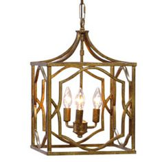 Blakely Antique Gold Three Light Foyer Antique Gold Lantern Pendant Lighting Ceiling Lig