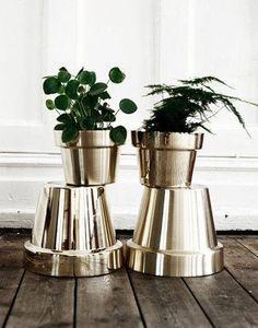 Silver spray paint on terra cotta flower pots