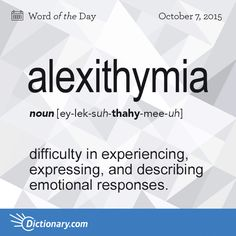 Dictionary.com's Word of the Day - alexithymia - Psychiatry. difficulty in experiencing, expressing, and describing emotional responses.