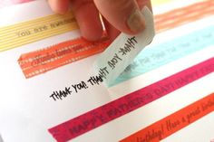 Print out words - place wash tape on top - peel off - apply. Amazing that this is so simple.