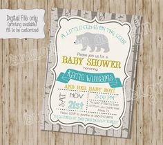 A personal favorite from my Etsy shop https://www.etsy.com/listing/249979158/bear-baby-shower-invitation-woodland