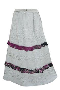 e5b153fd7a Mogul Interior Womens Maxi Skirt Flirty Grey Embroidered Bohemian Gypsy L:  Amazon.co.uk: Clothing