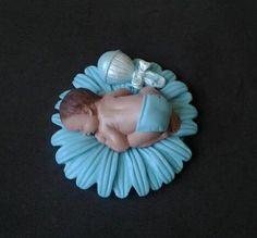 Fondant baby boy blue daisy cake topper by evynisscaketopper, $20.00