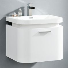 SP MV400 Gloss White Curved Vanity Unit 600mm X 500mm