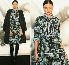 Boa tarde com a bela Miranda Kerr de casaco, vestido floral e botas!🌿 É fashion e elegante. Adorei! #creative #fashion #elegant #mirandakerr