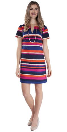 Swooning over the Trina Turk Museum Dress. Structure, striped, and brightly colored! Love the mix of pinks with royal and navy blue! #trinaturk