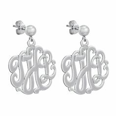 "Initial Reaction - 5/8"" Monogram Sterling Silver Script Cutout Earrings"