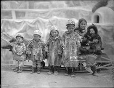 Group portrait of Native American Aluet children including Nancy Columbia, second from right, a girl born at the 1893 World's Columbian Exposition (in Chicago) at the Louisiana Purchase Exposition, St Louis, Missouri, June 6, 1904.
