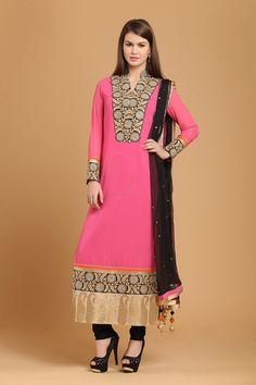 Andaaz Fashion presentPink Georgette Churidar Chinese Collar Kameez neckstyle kameez with price $92.20. Emblish with Embroidered,Resham,Zari,Cristal and it is perfect for Party,Wedding,Festival,Ceremonial.   http://www.andaazfashion.us/salwar-kameez/churidar-suits/occasion/wedding-wear-churidar-suits