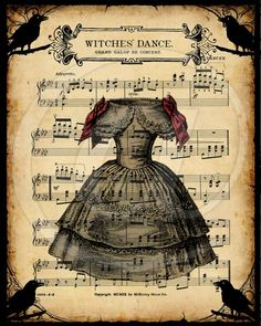 Witch's Dance Vintage Sheet Music Printable Halloween Art, and more...