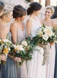 Bridesmaid Dresses, J. Crew, Flowers by: Mary Campbell, Photo: Virgil Bunao Photography - South Carolina Wedding http://caratsandcake.com/laceyandjonathan