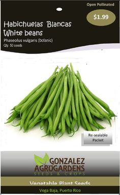 White beans 'Phaseolus vulgaris' Seed packet