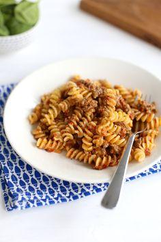 Pasta met gehakt en zongedroogde tomaatjes