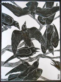 """Talking Crows"" by Ellen LeBow SCRATCHBOARD and INK"
