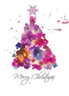 Watercolor Christmas Holly Greeting