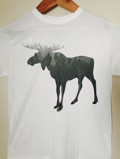 Moose T-Shirt  Moose Silhouette Shirt by BlackCatPrints on Etsy