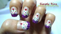 "Cupcake nail art, complete with 3D bullion sprinkles {""how to"" included.}"