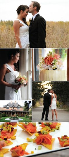 Real Calgary Wedding from Nicole Halverson Photography. Stunning bride in a short wedding dress, with off the shoulder detailing. Love the rustic wedding cake with roses on top, all taking place at the beautiful Bow Valley Ranche Restaurant.