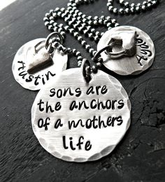 Hand Stamped Necklace - Sterling Silver Jewelry - Personalized Necklace - Mother and Son Jewelry - Double Disks