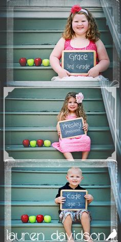 Back to school vintage style mini photo shoot session. Name and grade on chalkboard with apples.