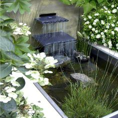 Pamela Johnson is a wonderful garden designer in the UK. Her cascade here illustrates what the Japanese call a 'water dividing' stone. It is placed at the bottom of a waterfall to 'break' the spill and create a splash. This modulates the 'song of the waterfall'
