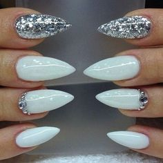 2 accent nail. 2 colours. baby blue. silver sparkle. cuticle tip.